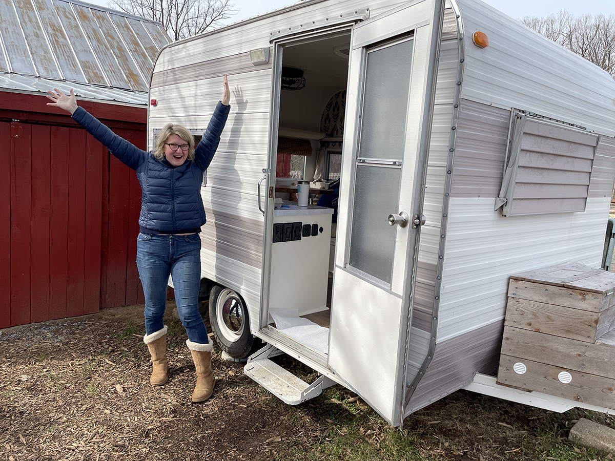 ashley by trailer door